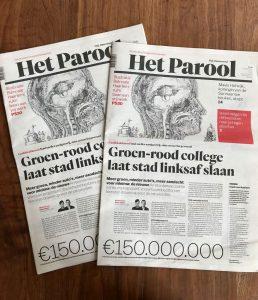 Illustratie Biënnale 2018 op voorpagina Het Parool, 24 mei 2018